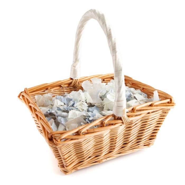 Biodegradable Confetti - Blue & White Hydrangea Petals - Rectangular Flower Girl Basket