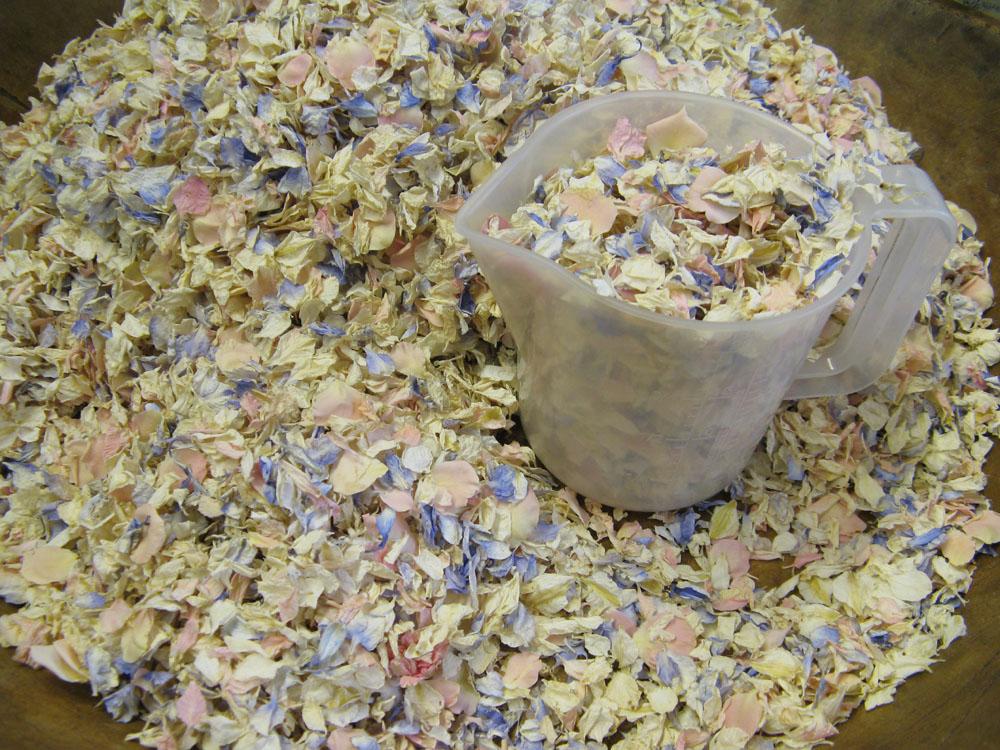 Rose Petals and Delphinium Petals Wedding Confetti