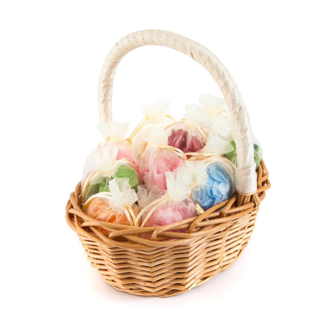 Confetti Moment - a basket of Coloured Rose Petal Bags