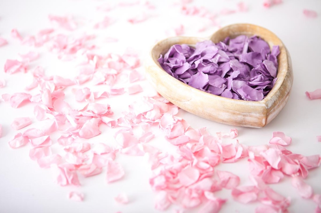 Petal Confetti - Coloured Rose Petal heart