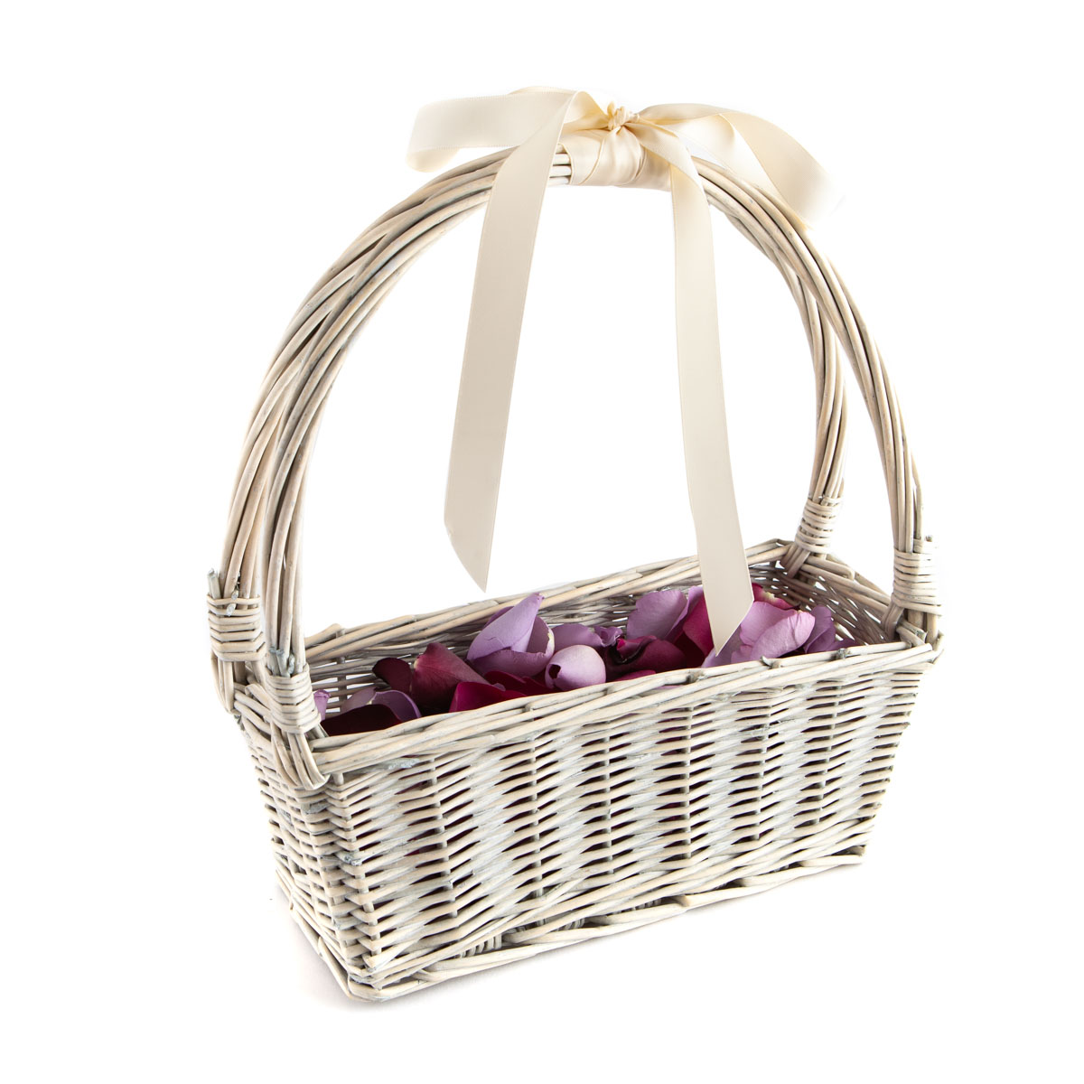 Large Natural Rose Petals in a Small White Flower Girl Basket