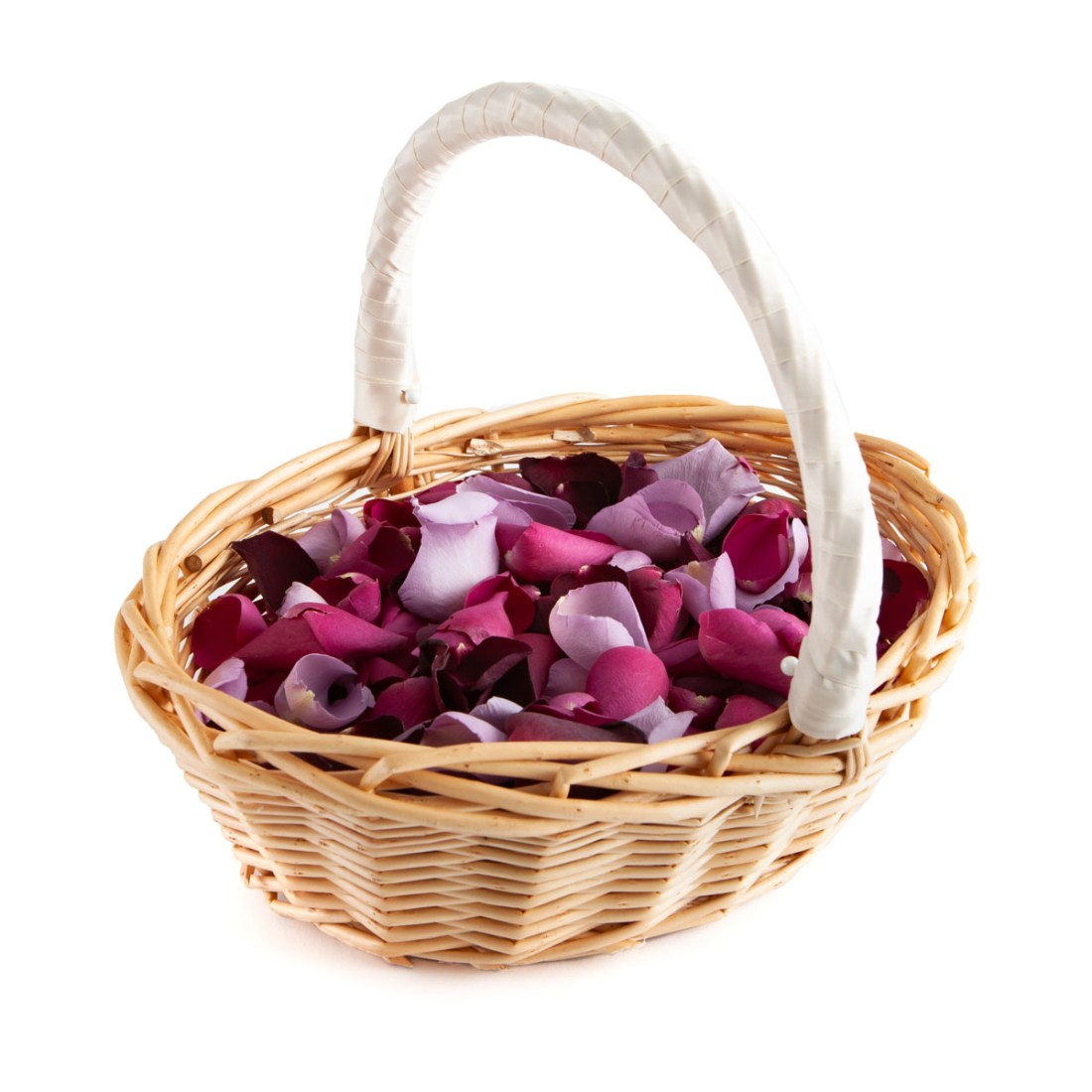 Large Natural Rose Petals in an Oval Flower Girl Basket