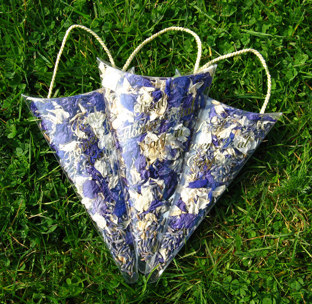 Petal Confetti - Delphiniums, Wildflowers and Lavender - Petal Sachets with Purple, Ivory and Lavender