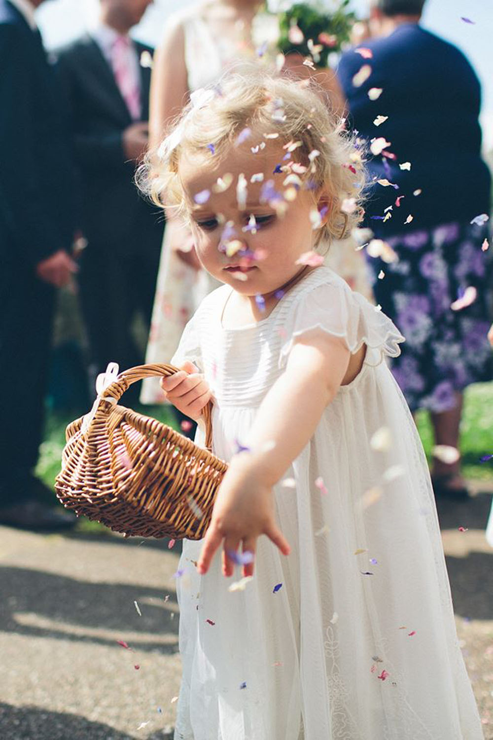 Petal Confetti - Delphiniums, Wildflowers and Lavender - bridesmaid with confetti