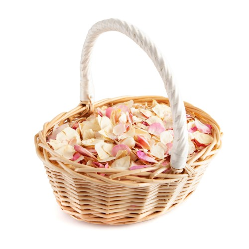 Soft Pink Flower Girl Basket - Biodegradable Confetti Basket - Real Flower Petal Confetti