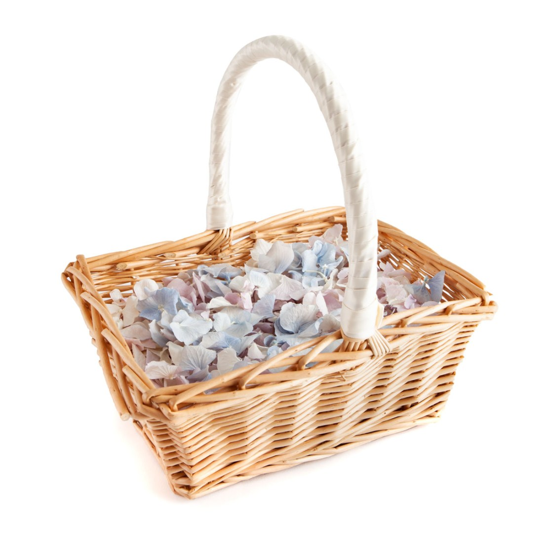 Lilac, Blue & White Hydrangea Petals - Rectangular Flower Girl Basket