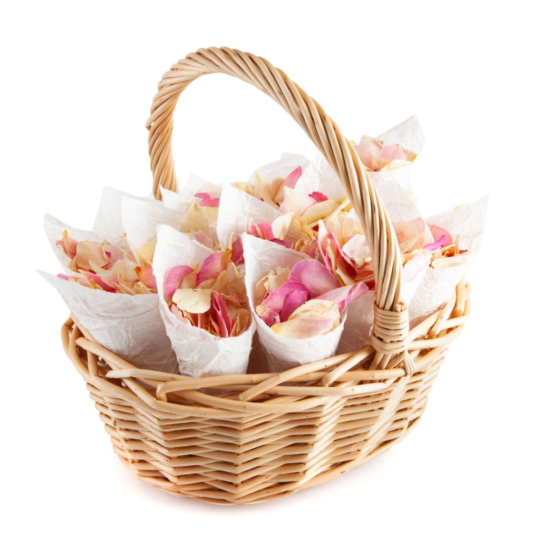 Flower Girl Basket - Soft Pinks Rose Petals