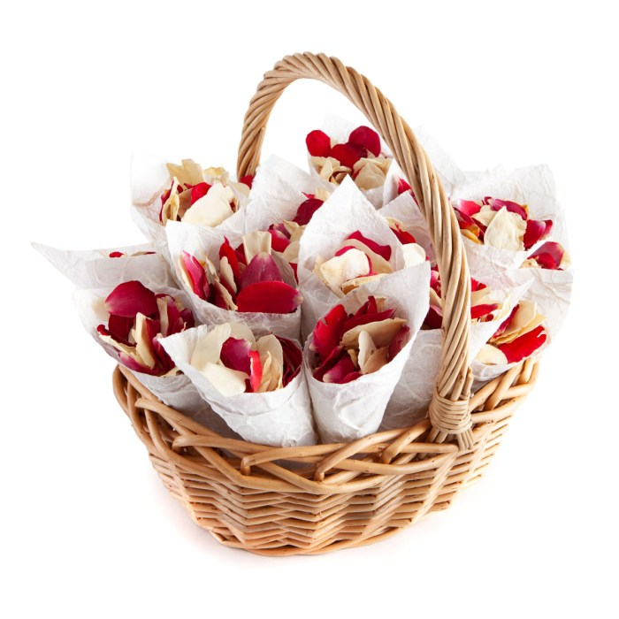 Red & Cream Rose Petals - Biodegradable Confetti - Real Flower Petal Confetti - Confetti Cone Basket