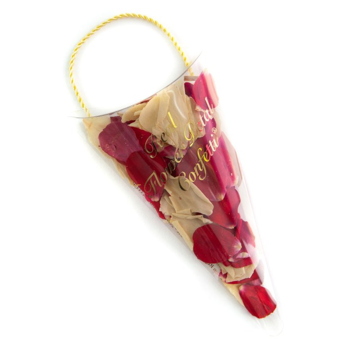 Red & Cream Rose Petals - Biodegradable Confetti - Real Flower Petal Confetti - Sachet