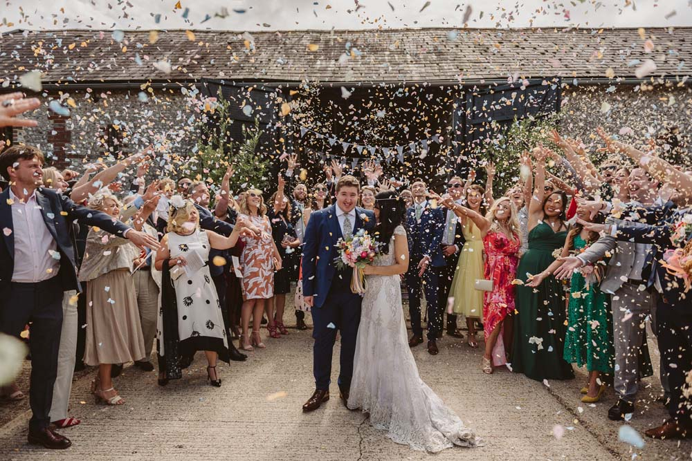 The 2019 winning photo - confetti moment with real flower petal confetti