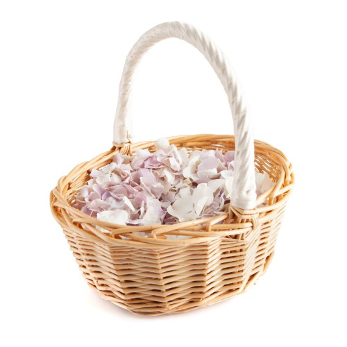 Lilac and White Hydrangea Petals in a flower girl basket