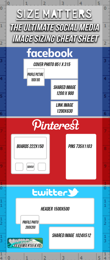 The Ultimate Social Media Image Sizing Cheat Sheet. Use this to improve your social media imaging.