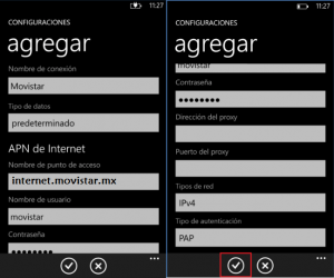 reparar configurar apn movistar mexico windows phone