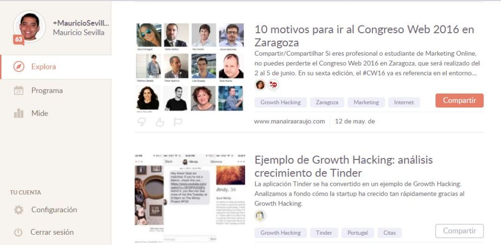 Growth Hacking Temas de Klout