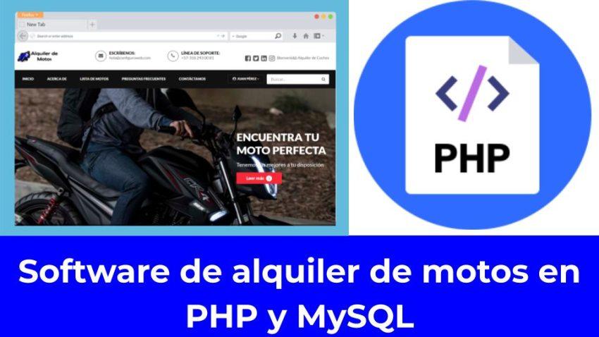 Software de alquiler de motos en PHP y MySQL