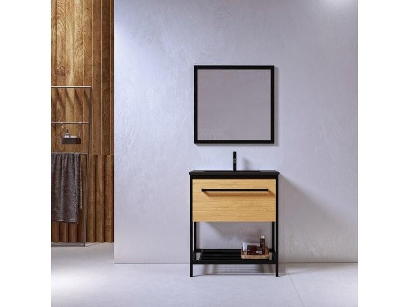 Meuble Salle De Bain Smart 80 Cm En Metal Noir Avec Vasque Ceramique Noire Vente De Salle De Bain Pretes A Emporter Conforama