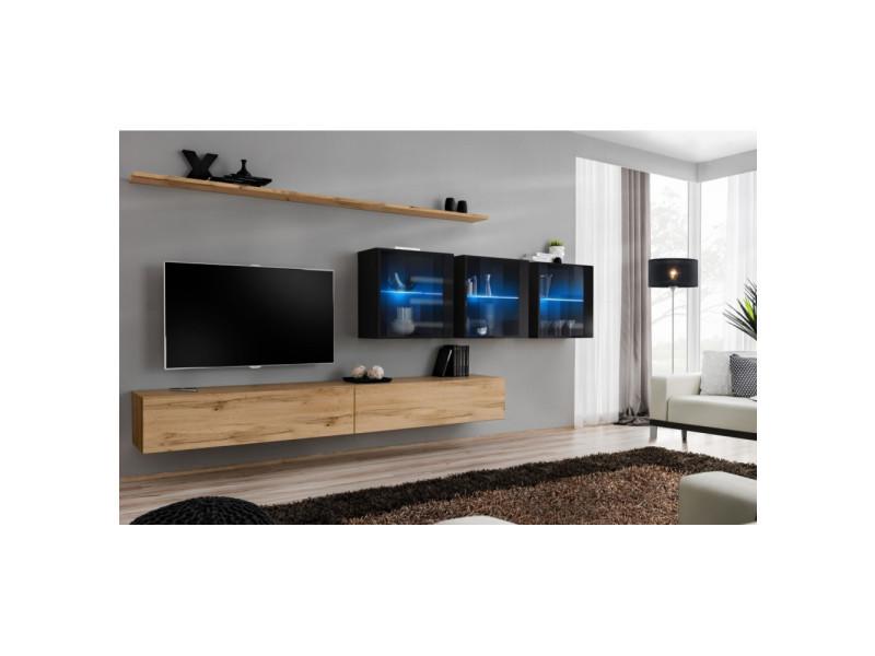 ensemble mural switch xvii 3 vitrines led 2 banc tv 2 etageres bois et noir modele 1