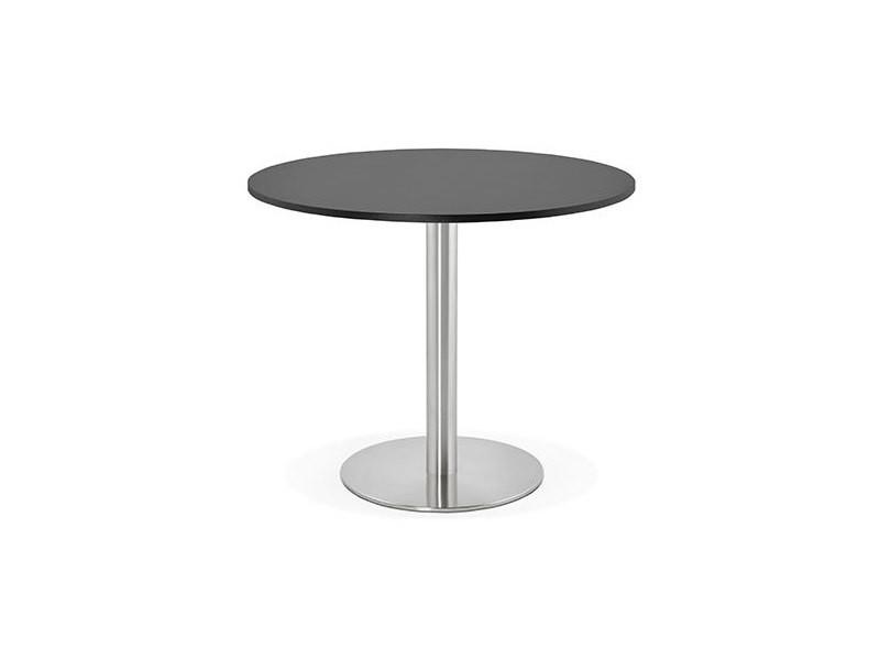 table a manger ronde 90 cm en bois noir