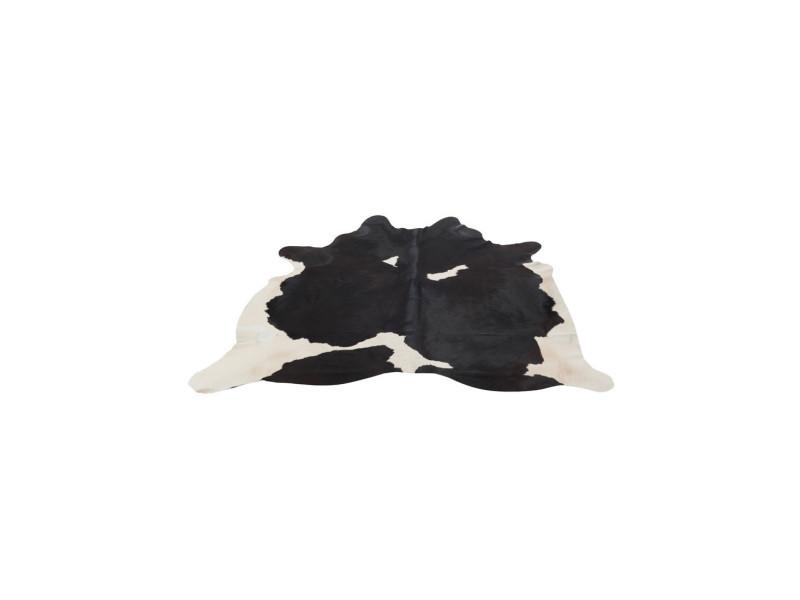 tapis peau de vache cuir noir 230 240 holstein l 230 x l 240 x h 2 neuf