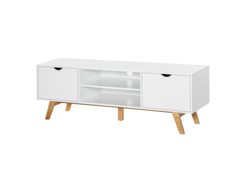 meuble tv bas sur pied style scandinave 2 portes 2 niches passe fils panneaux particules mdf blanc bois massif hevea