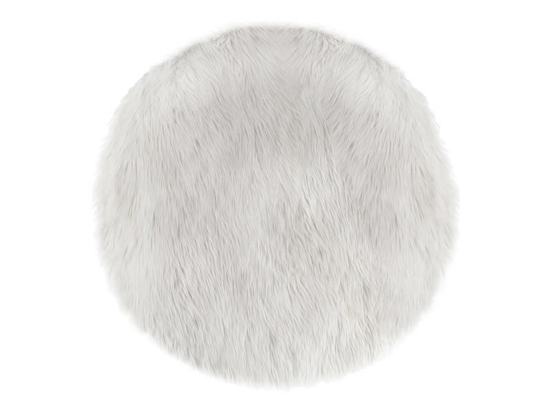 tapis rond fausse fourrure blanc