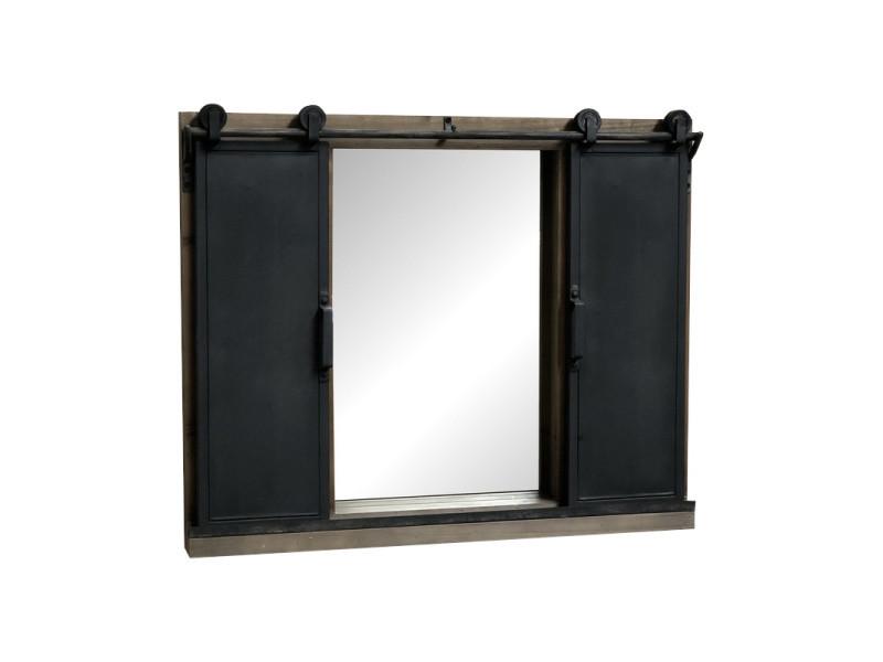 miroir volets porte coulissante roulettes industriel bois fer 80 cm x 65 cm