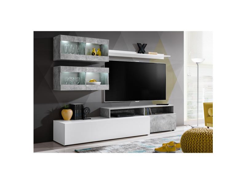 ensemble murale meuble tv light 6 elements blanc