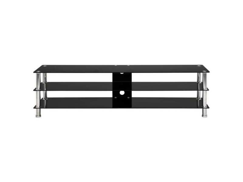 icaverne meubles tv collection meuble tv noir 150 x 40 x 40 cm verre trempe