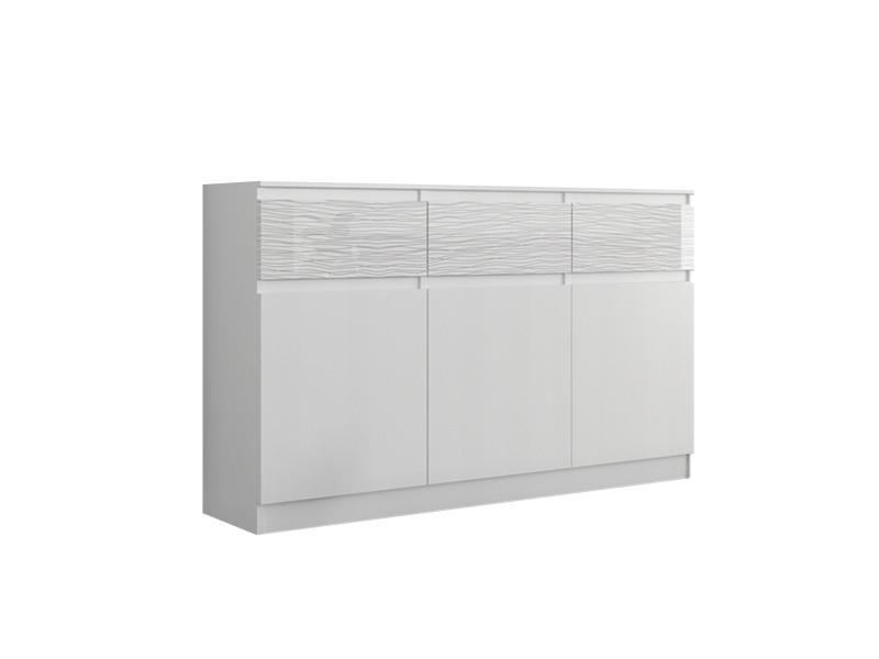 riga 1 commode chambre salon bureau 40x120x98 cm 3 tiroirs 3 portes meuble de rangement finition laquee buffet blanc motifs