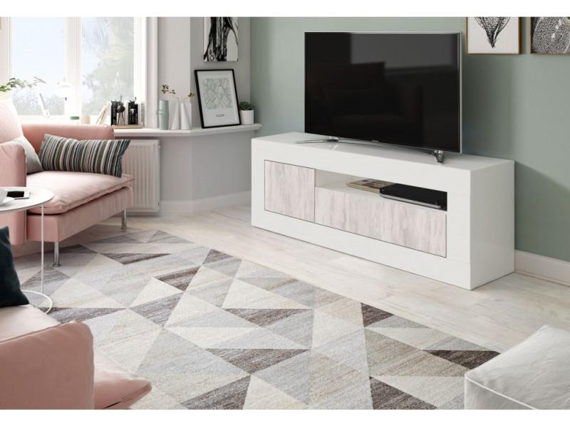 meuble tv design gwen 3 portes l139cm blanc bois