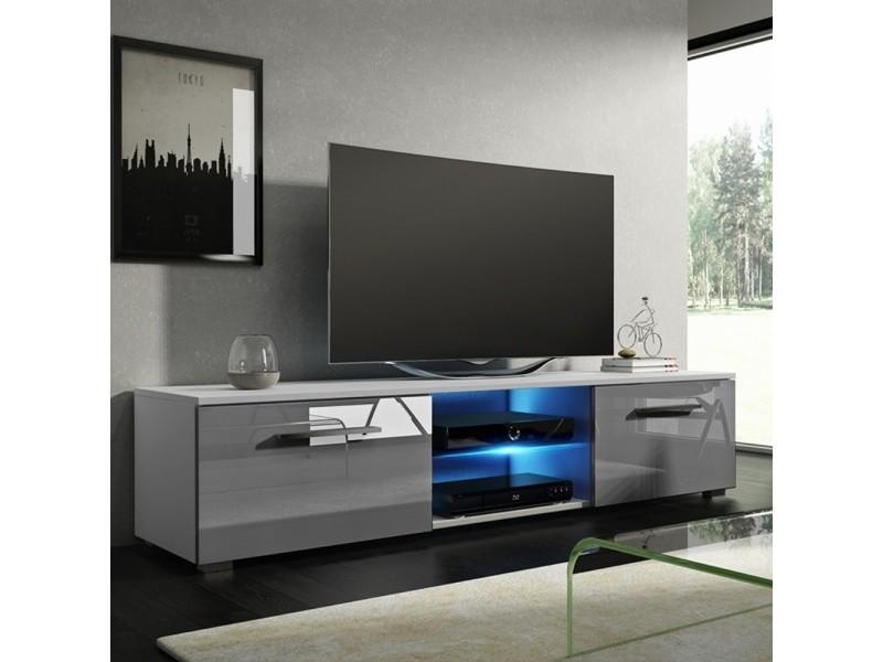 meuble tv banc tv tenus 140 cm blanc mat gris brillant avec led