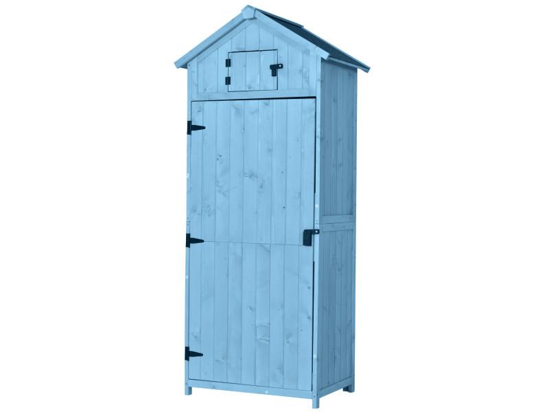 armoire abri de jardin remise pour outils 3 etageres 2 porte loquets toit pente bitume 77l x 54l x 179h cm pin massif traite bleu