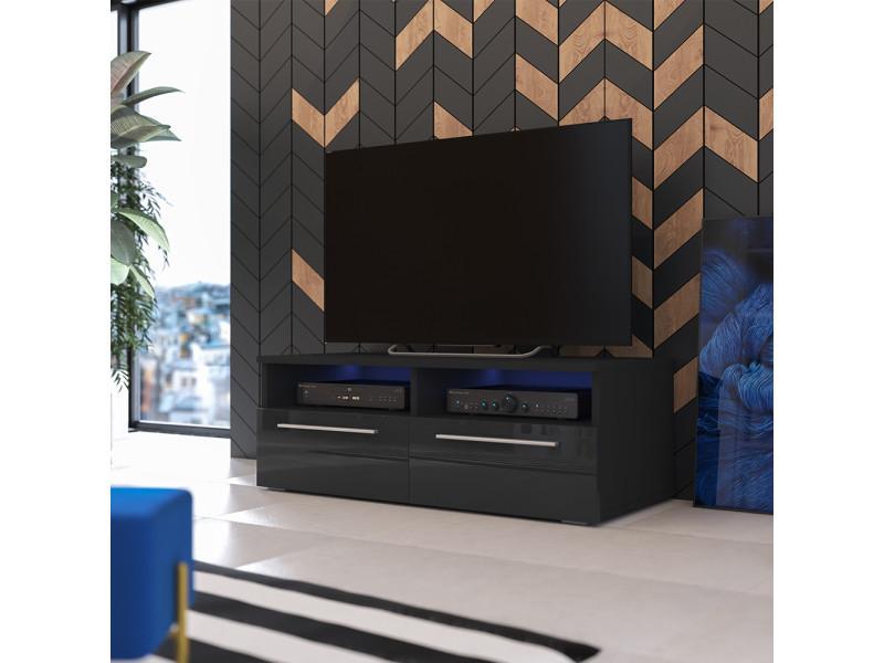 meuble tv phiris 100 cm noir mat noir brillant avec led