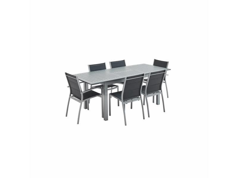 salon de jardin table extensible chicago 210 gris table en aluminium 150 210cm avec rallonge et 6 assises en textilene