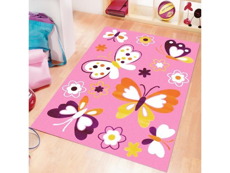 tapis enfant 120x170 cm rectangulaire bambino papillon rose chambre adapte au chauffage par le sol