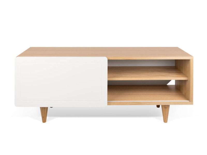 meuble tv en bois blanc avec porte coulissante nyla