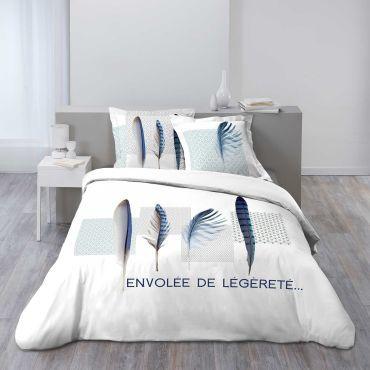 Parure Housse De Couette 260 X 240 Cm Modele Plume Bleue Vente De Douceur D Interieur Conforama