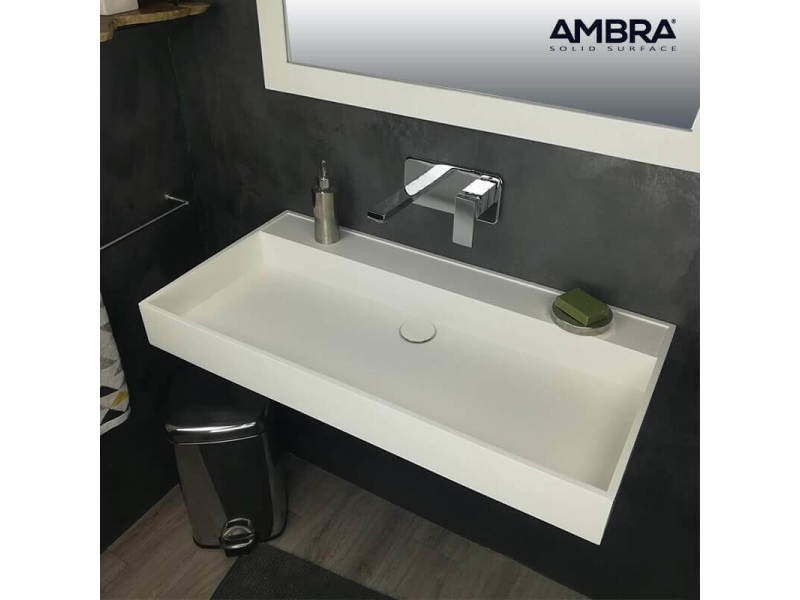 Vasque 90 Cm Suspendue Ou A Poser En Solid Surface Malaga Ii Vente De Ambra Conforama