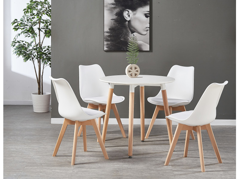 table blanche ronde 4 chaises