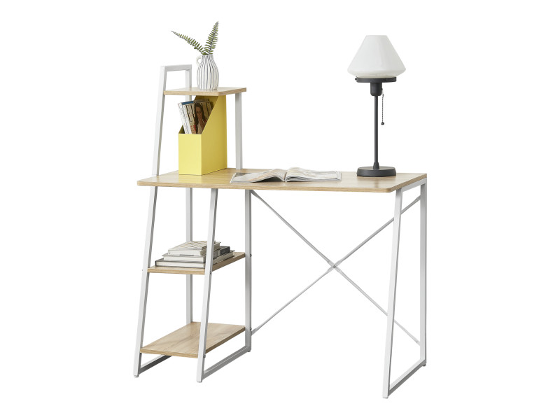 en casa bureau avec etageres de rangement poste de travail table de bureau panneau de fibre de bois melamine et metal revetu par poudre couleur