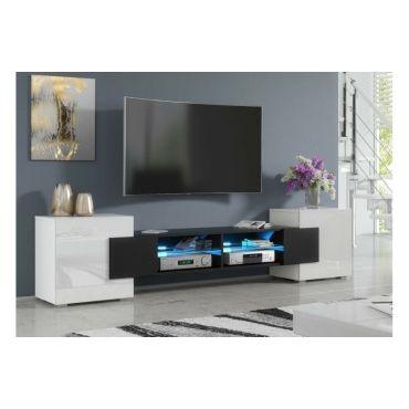 meuble tv pablo 230 cm avec led noir