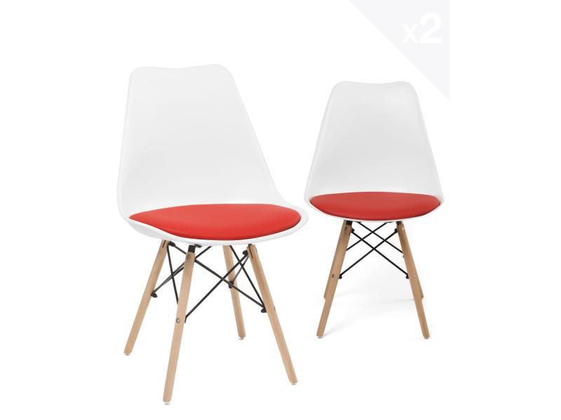 lot de 2 chaises scandinave avec coussin nasi blanc et rouge