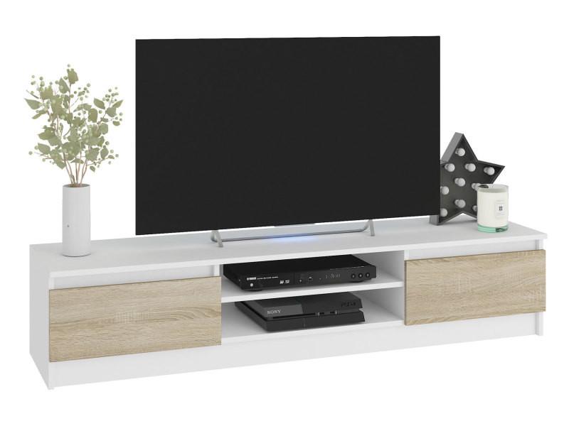robin meuble bas tv contemporain salon sejour 160x33x40cm 2 niches 2 portes rangement materiel audio video gaming blanc sonoma