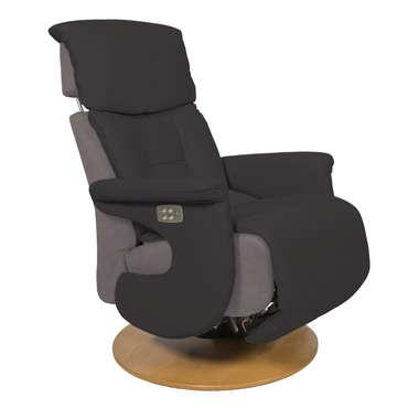 fauteuil relaxation en cuir et tissu