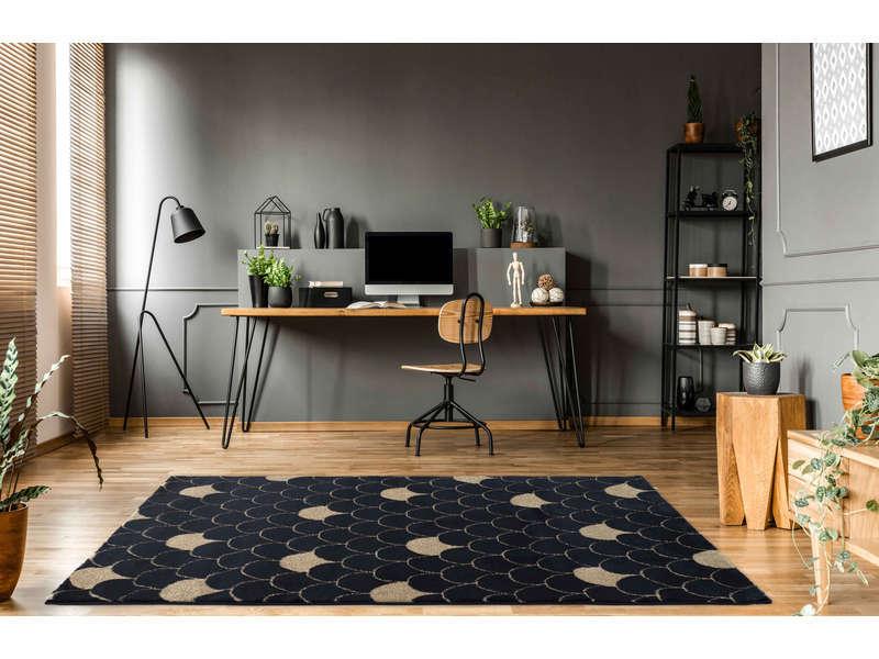 tapis 120x170 cm ecaille coloris bleu