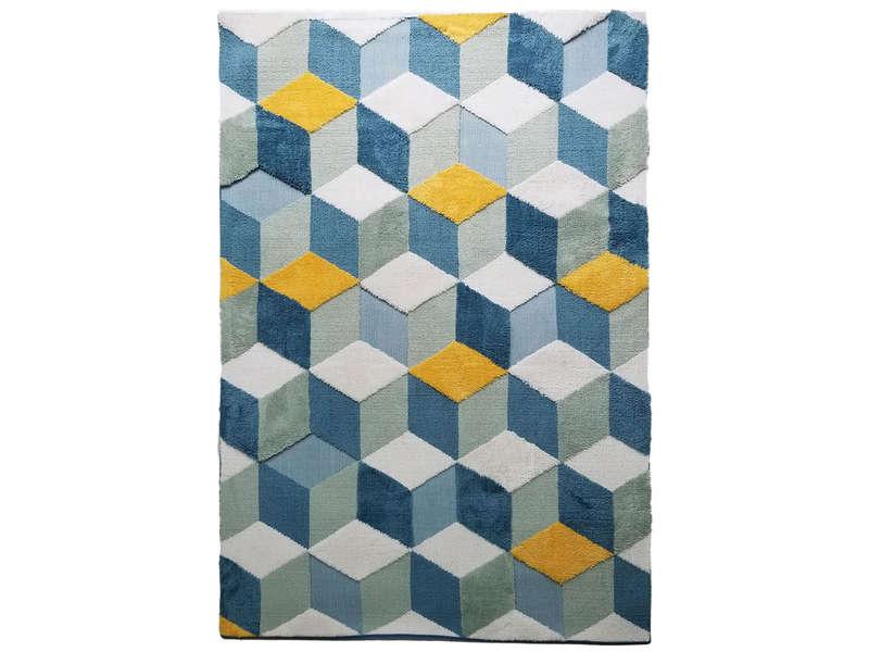 https www conforama fr decoration textile tapis tapis salon et chambre tapis 160x230 cm 3 d coloris jaune et bleu p 707289