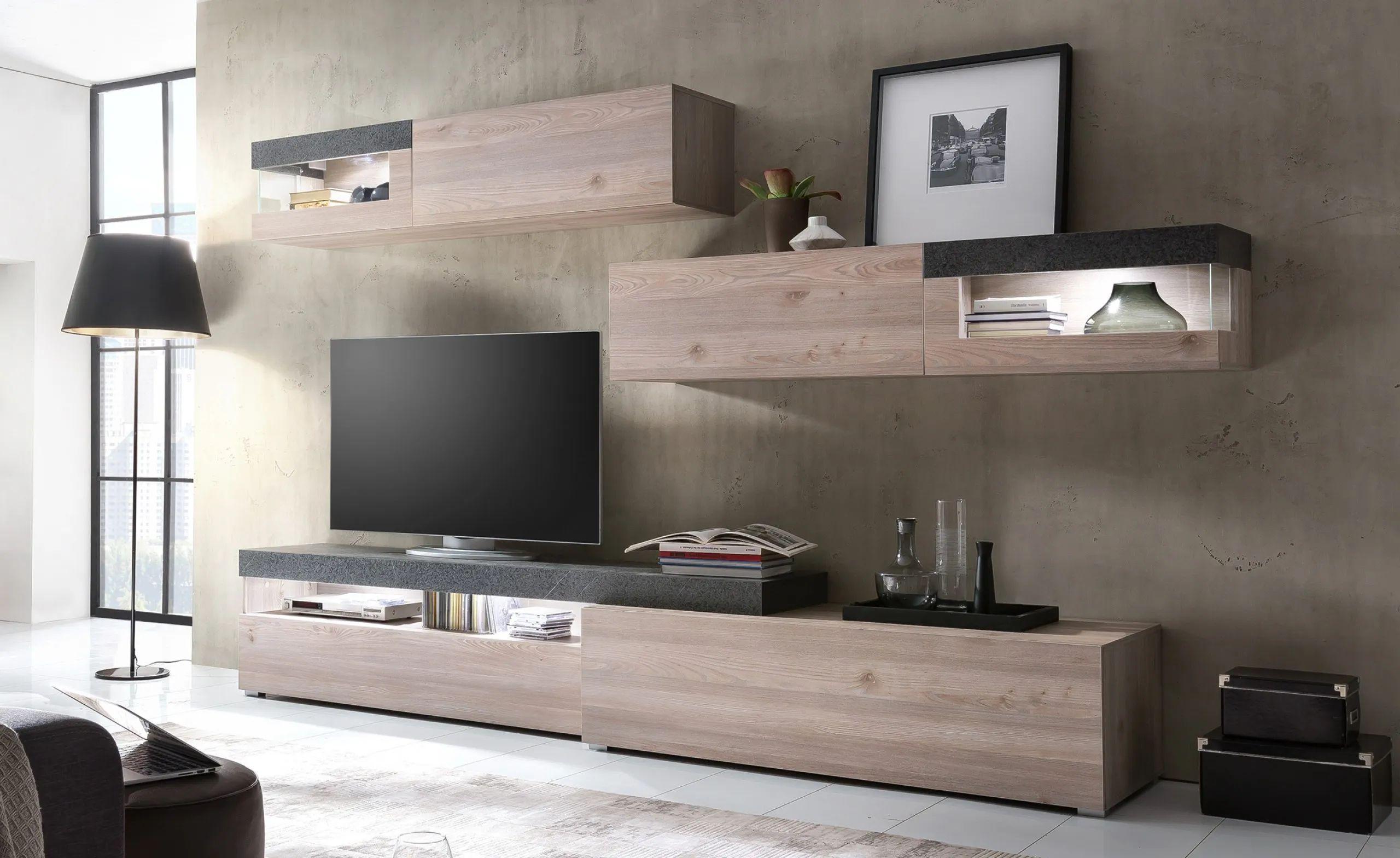Finitura bianco lucido, è l'ideale con mobili soggiorno moderni. Parete Soggiorno Laos Conforama