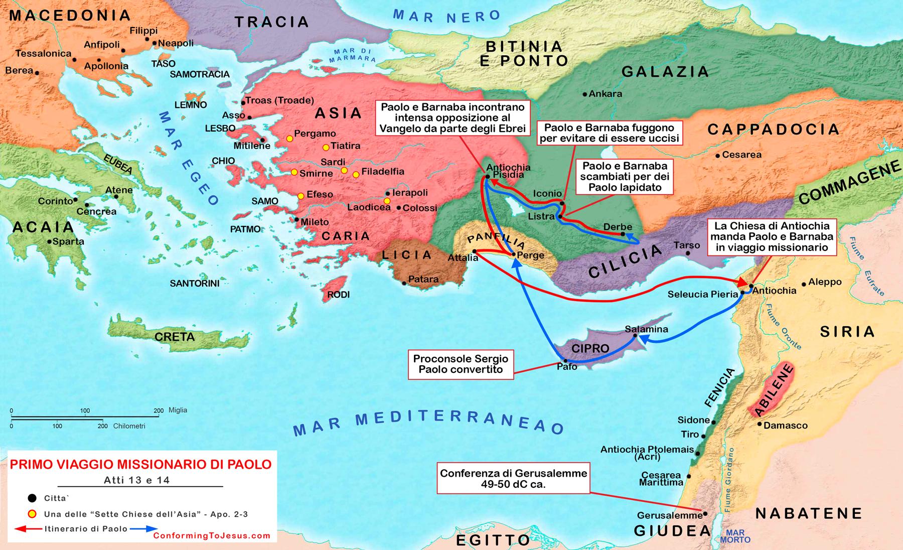 Mappa E Cartina Del Primo Viaggio Missionario Di Paolo