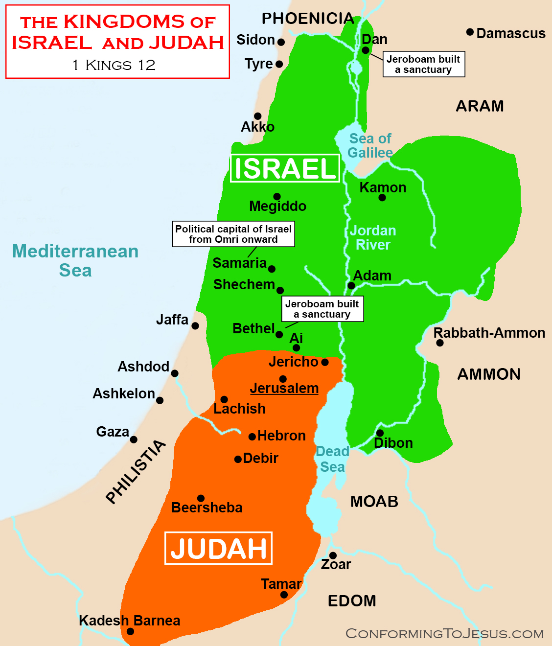 Divided Kingdom Of Northern Israel And Judah Map