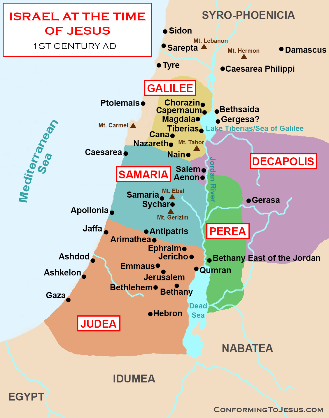 Map And History Of Israel At The Time Of Jesus Christ